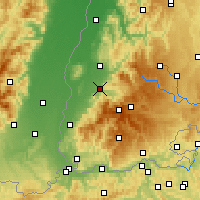 Nearby Forecast Locations - Fribourg-en-Brisgau - Carte