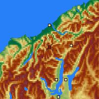 Nearby Forecast Locations - Mt Aspiring NP - Carte