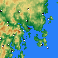 Nearby Forecast Locations - Hobart - Carte