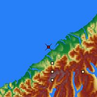 Nearby Forecast Locations - Ōkārito Lagoon - Carte