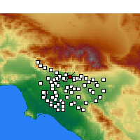 Nearby Forecast Locations - Azusa - Carte