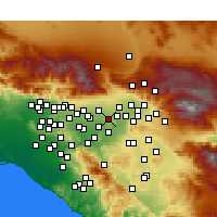 Nearby Forecast Locations - Fontana - Carte