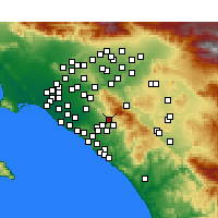 Nearby Forecast Locations - Foothill Ranch - Carte