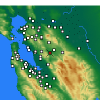 Nearby Forecast Locations - Pleasanton - Carte