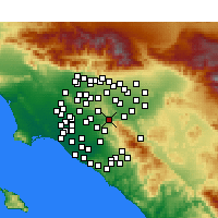Nearby Forecast Locations - Yorba Linda - Carte
